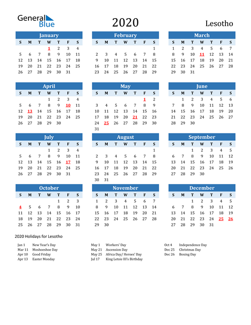 Image of Lesotho 2020 Calendar Two-Tone Blue with Holidays