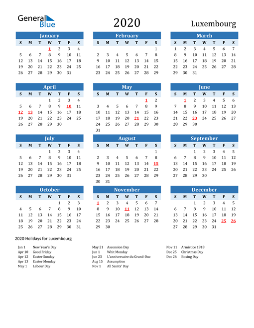 Image of Luxembourg 2020 Calendar Two-Tone Blue with Holidays