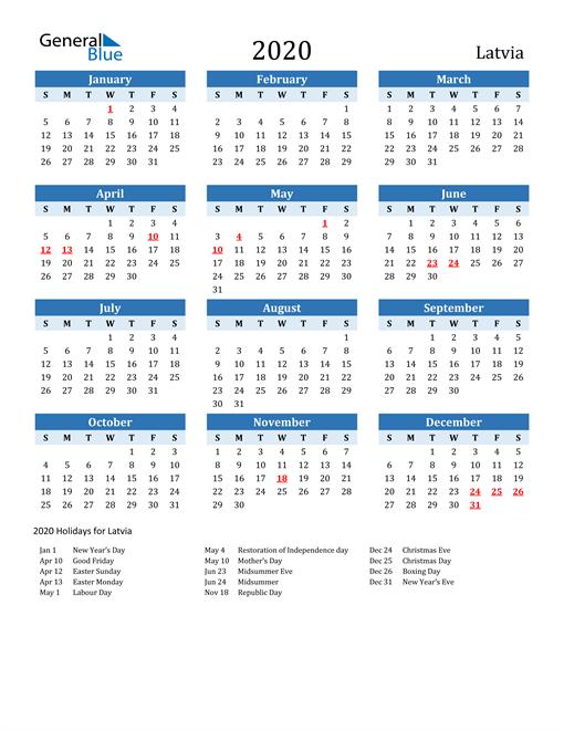 Printable Calendar 2020 with Latvia Holidays