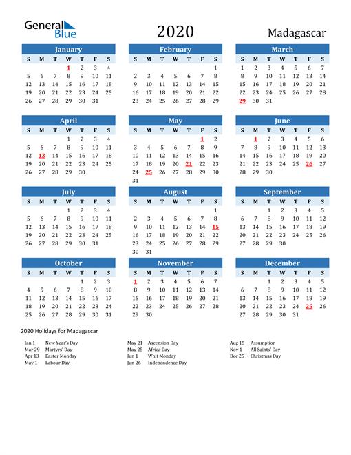 Printable Calendar 2020 with Madagascar Holidays
