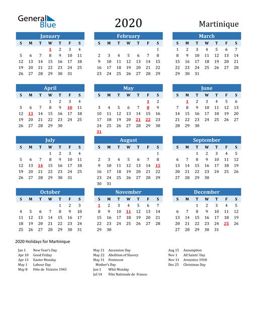 Printable Calendar 2020 with Martinique Holidays