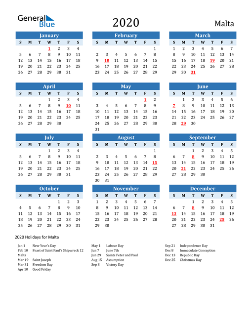Image of Malta 2020 Calendar Two-Tone Blue with Holidays