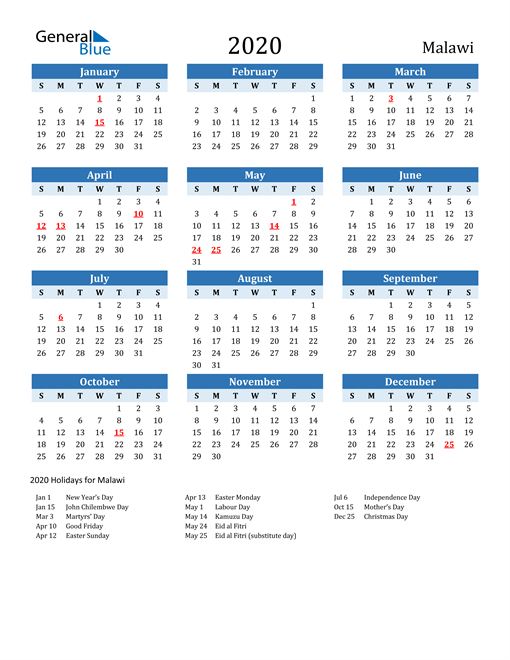 Image of Malawi 2020 Calendar Two-Tone Blue with Holidays