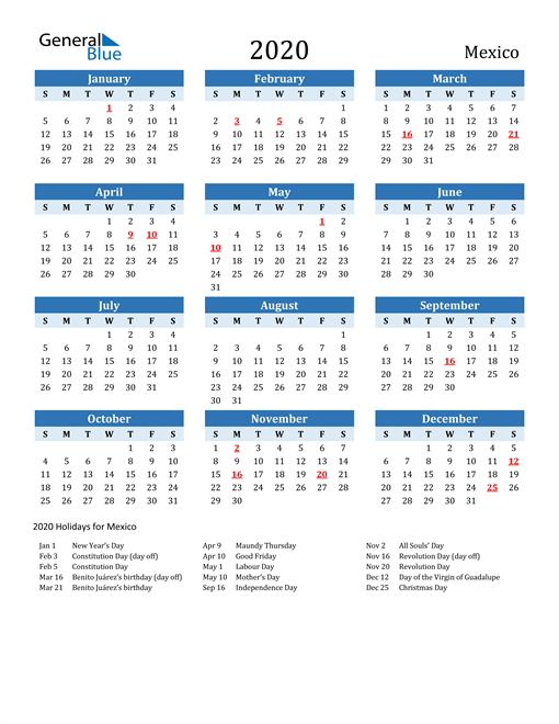 Image of Mexico 2020 Calendar Two-Tone Blue with Holidays