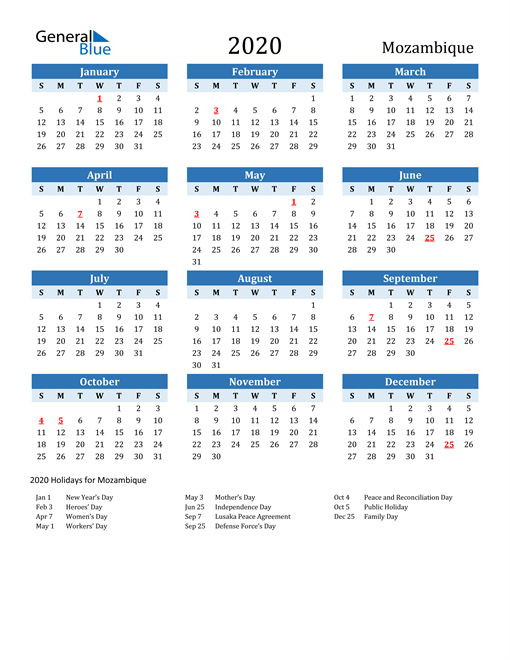 Image of Mozambique 2020 Calendar Two-Tone Blue with Holidays