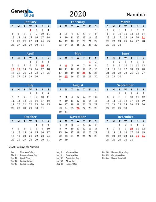 Printable Calendar 2020 with Namibia Holidays