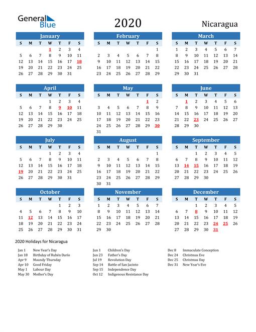 Printable Calendar 2020 with Nicaragua Holidays