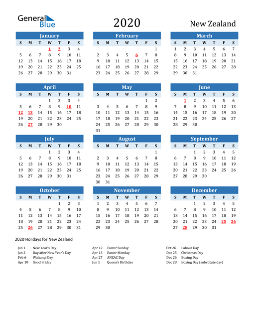 Image of New Zealand 2020 Calendar Two-Tone Blue with Holidays