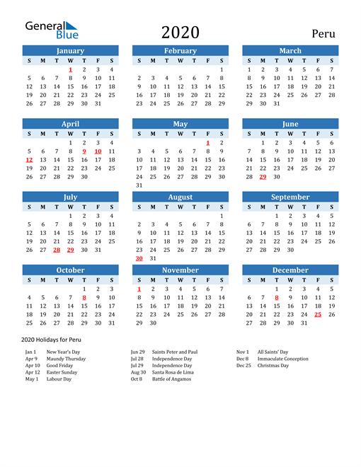 Printable Calendar 2020 with Peru Holidays