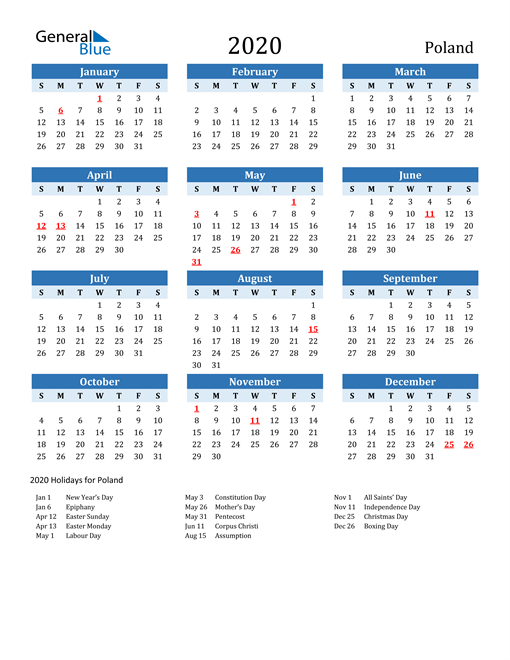 Image of Poland 2020 Calendar Two-Tone Blue with Holidays