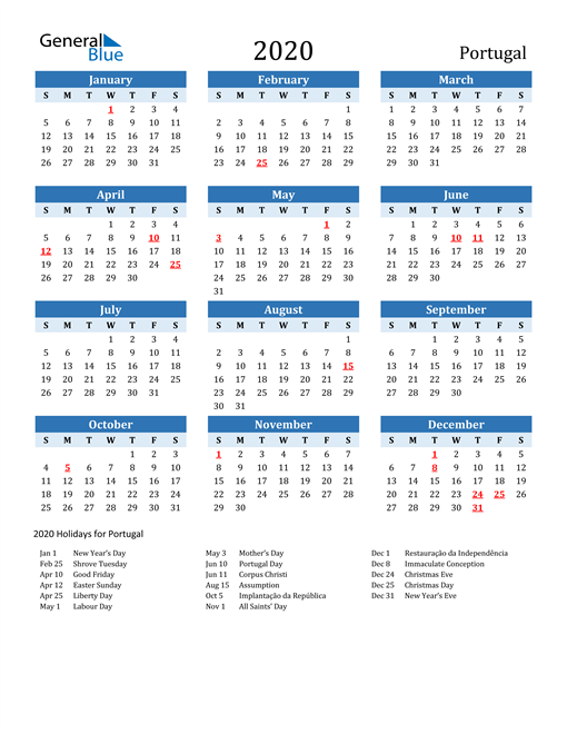 Image of Portugal 2020 Calendar Two-Tone Blue with Holidays