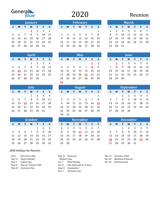 Printable Calendar 2020 with Reunion Holidays