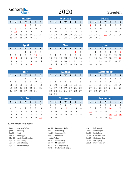 Image of Sweden 2020 Calendar Two-Tone Blue with Holidays