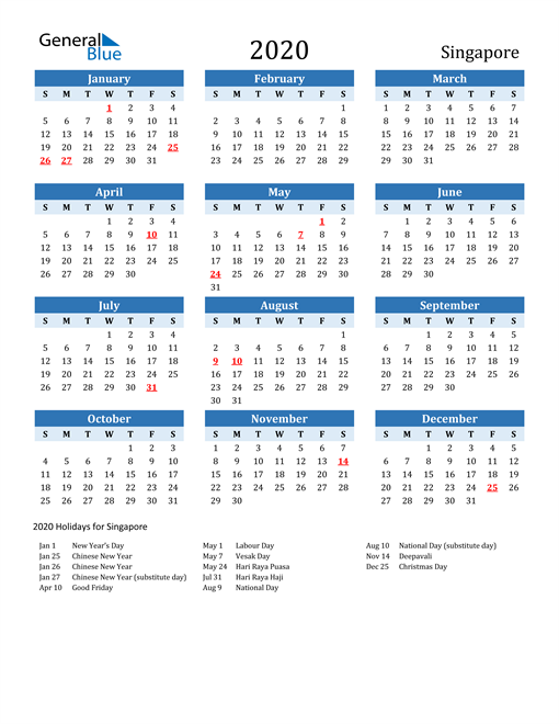 Image of Singapore 2020 Calendar Two-Tone Blue with Holidays