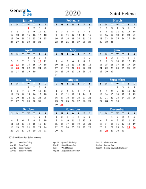 Image of Saint Helena 2020 Calendar Two-Tone Blue with Holidays