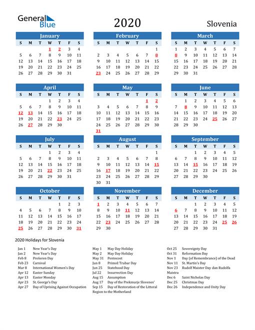 Printable Calendar 2020 with Slovenia Holidays