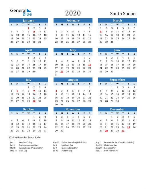 Printable Calendar 2020 with South Sudan Holidays