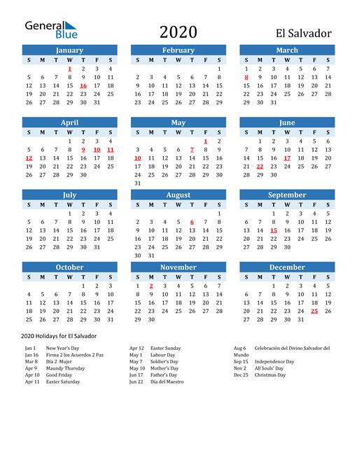 Image of El Salvador 2020 Calendar Two-Tone Blue with Holidays