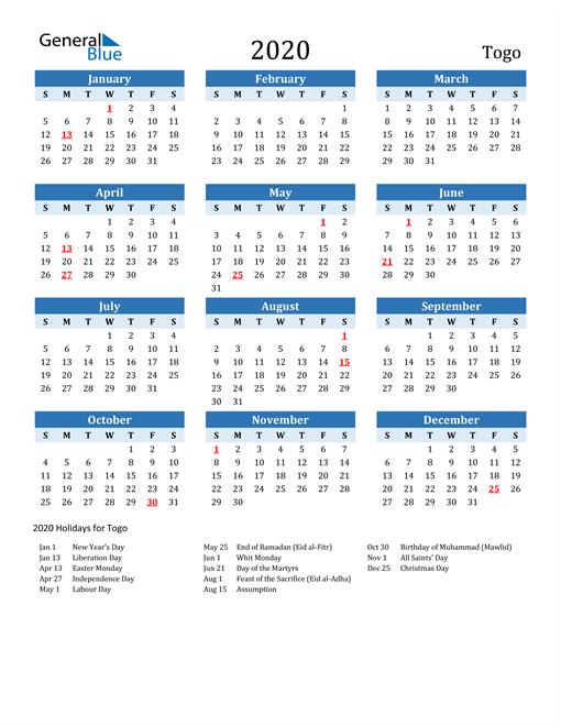 Printable Calendar 2020 with Togo Holidays