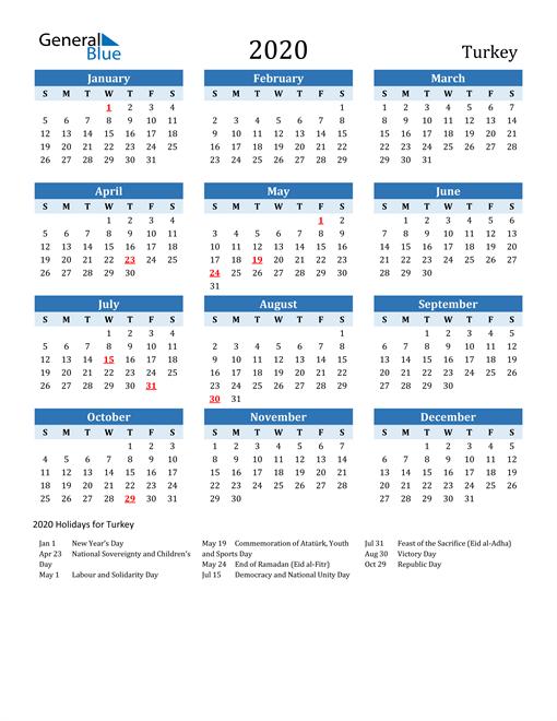 Printable Calendar 2020 with Turkey Holidays