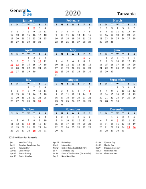Printable Calendar 2020 with Tanzania Holidays