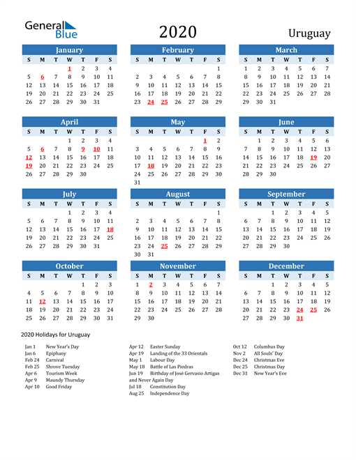 Image of Uruguay 2020 Calendar Two-Tone Blue with Holidays