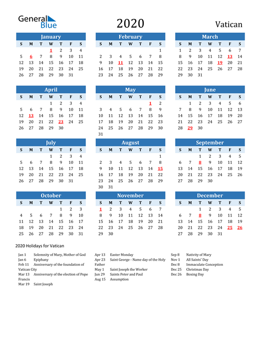 Image of Vatican 2020 Calendar Two-Tone Blue with Holidays