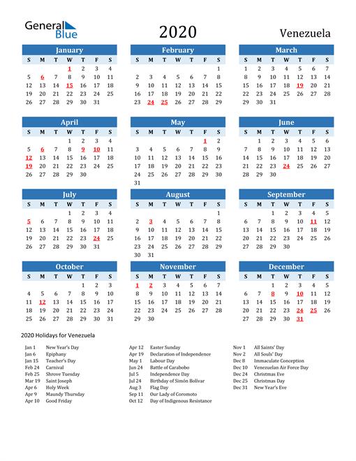 Printable Calendar 2020 with Venezuela Holidays