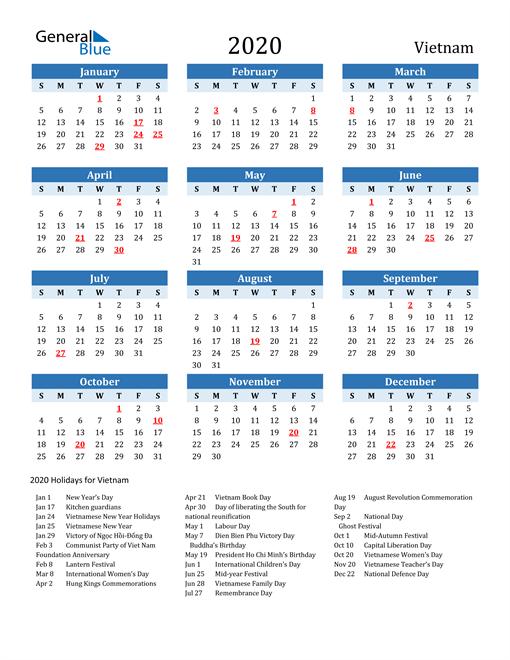 Printable Calendar 2020 with Vietnam Holidays
