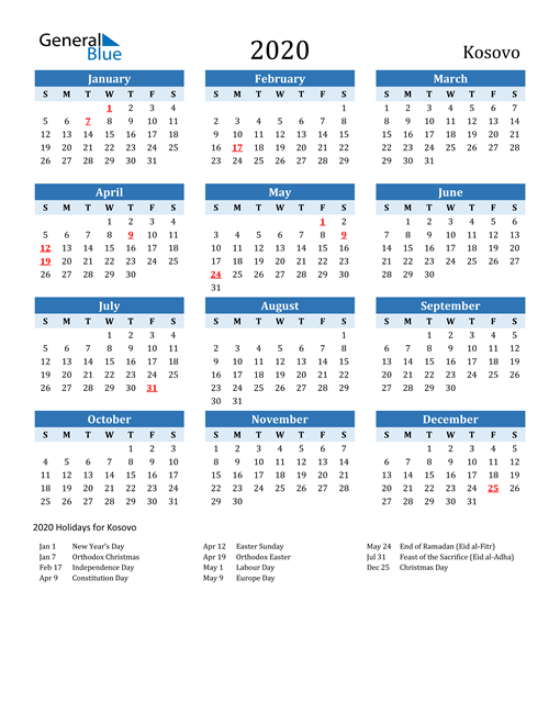 Image of Kosovo 2020 Calendar Two-Tone Blue with Holidays
