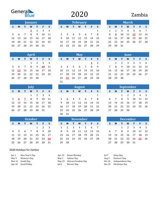 Printable Calendar 2020 with Zambia Holidays