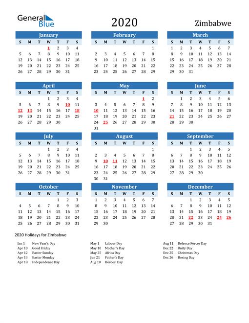 Printable Calendar 2020 with Zimbabwe Holidays