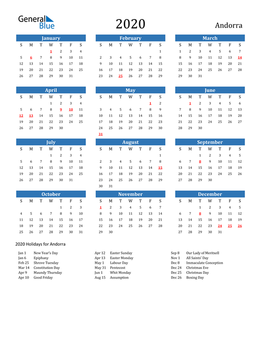 Image of 2020 Calendar - Andorra with Holidays
