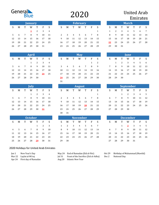 Image of 2020 Calendar - United Arab Emirates with Holidays