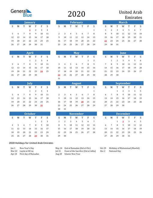 Image of United Arab Emirates 2020 Calendar with Holidays