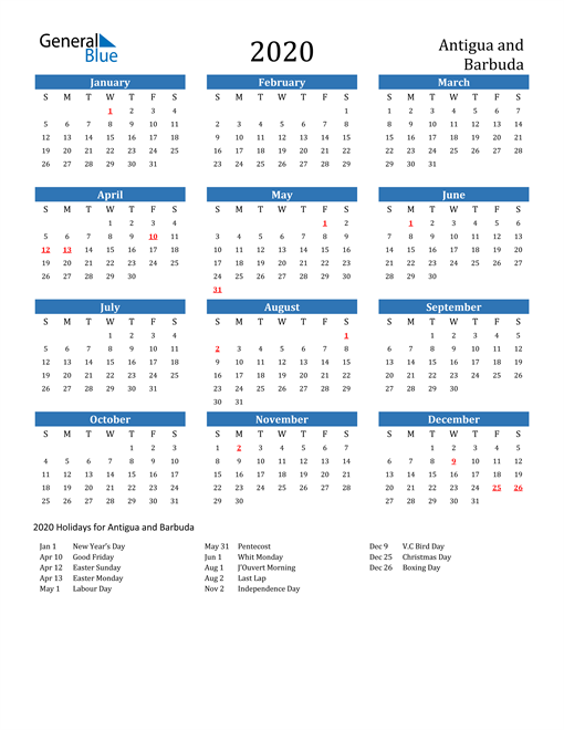 Image of 2020 Calendar - Antigua and Barbuda with Holidays