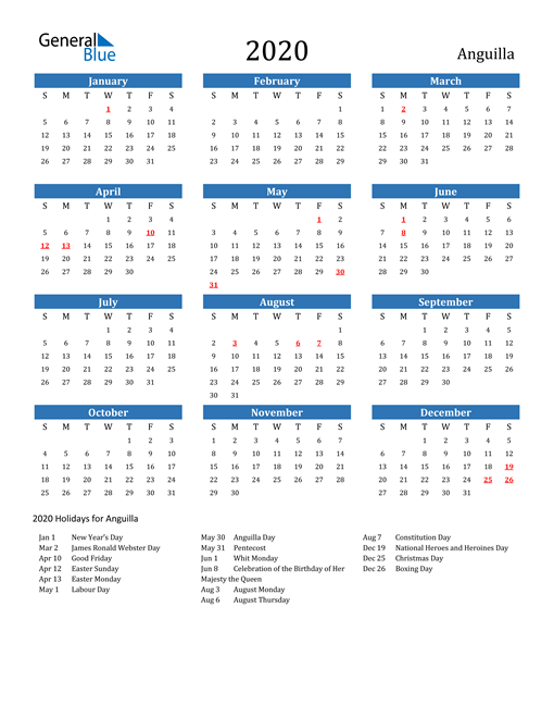 Image of 2020 Calendar - Anguilla with Holidays
