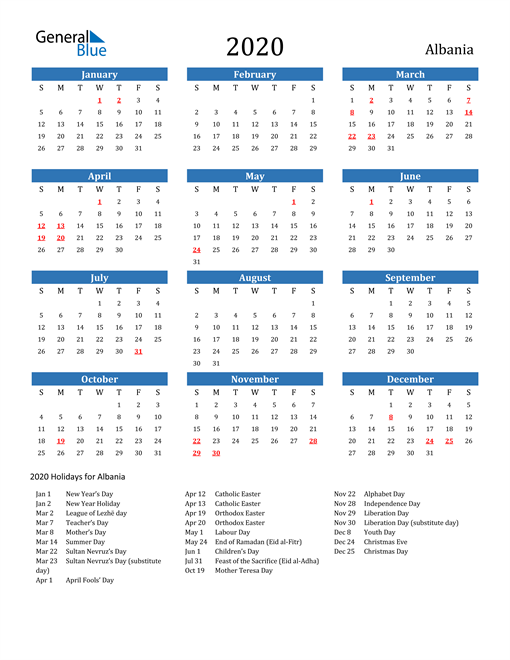 Image of 2020 Calendar - Albania with Holidays