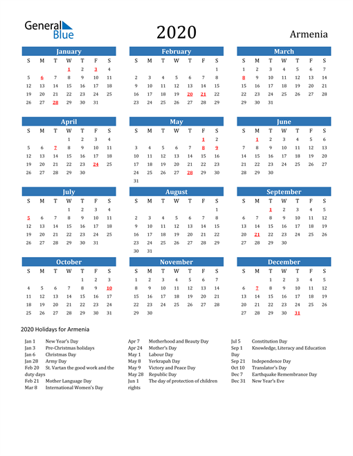 Armenia 2020 Calendar with Holidays