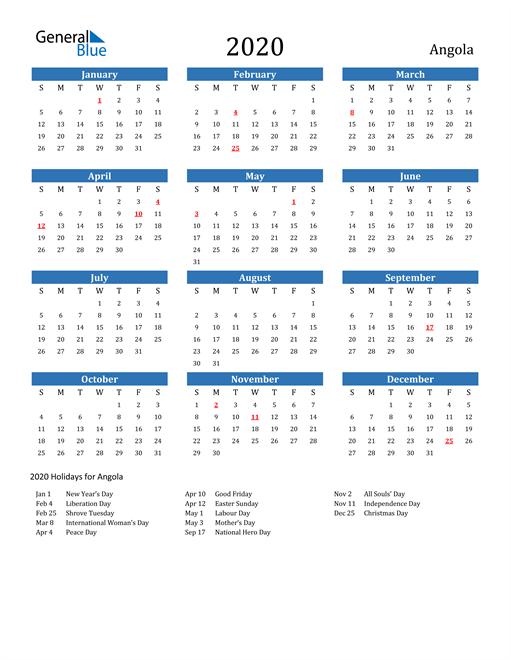 Image of Angola 2020 Calendar with Holidays