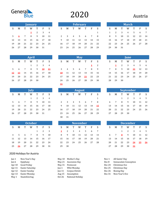 Image of 2020 Calendar - Austria with Holidays