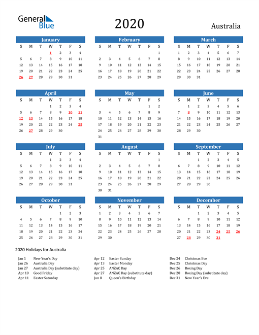 Image of 2020 Calendar - Australia with Holidays