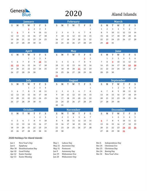 Image of 2020 Calendar - Aland Islands with Holidays