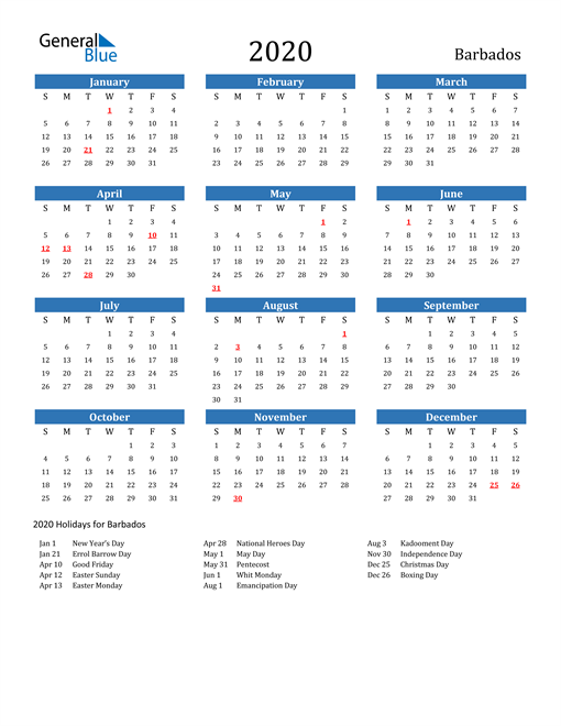 Image of 2020 Calendar - Barbados with Holidays