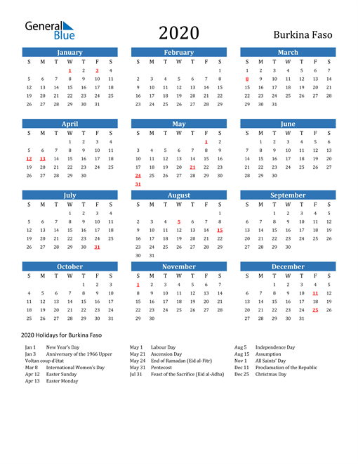 Image of 2020 Calendar - Burkina Faso with Holidays