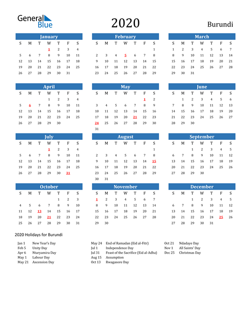 Image of 2020 Calendar - Burundi with Holidays