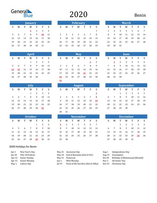 Benin 2020 Calendar with Holidays