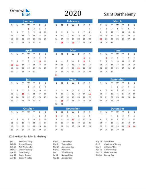 Image of 2020 Calendar - Saint Barthelemy with Holidays