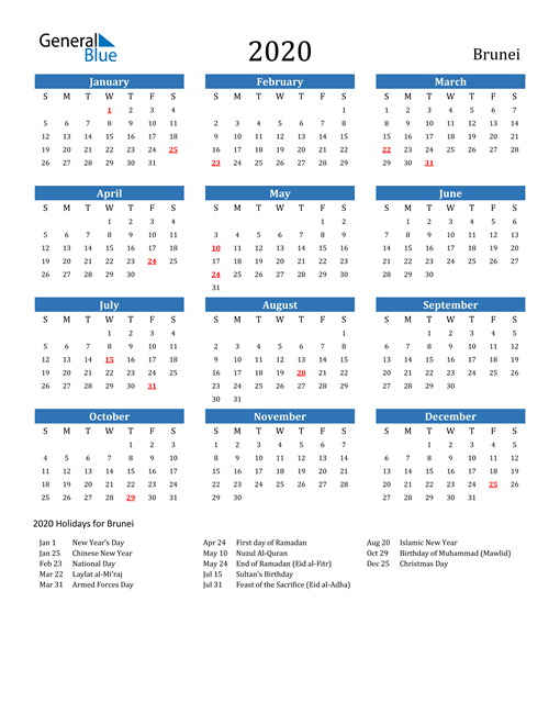 Image of 2020 Calendar - Brunei with Holidays