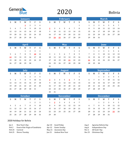 Image of 2020 Calendar - Bolivia with Holidays